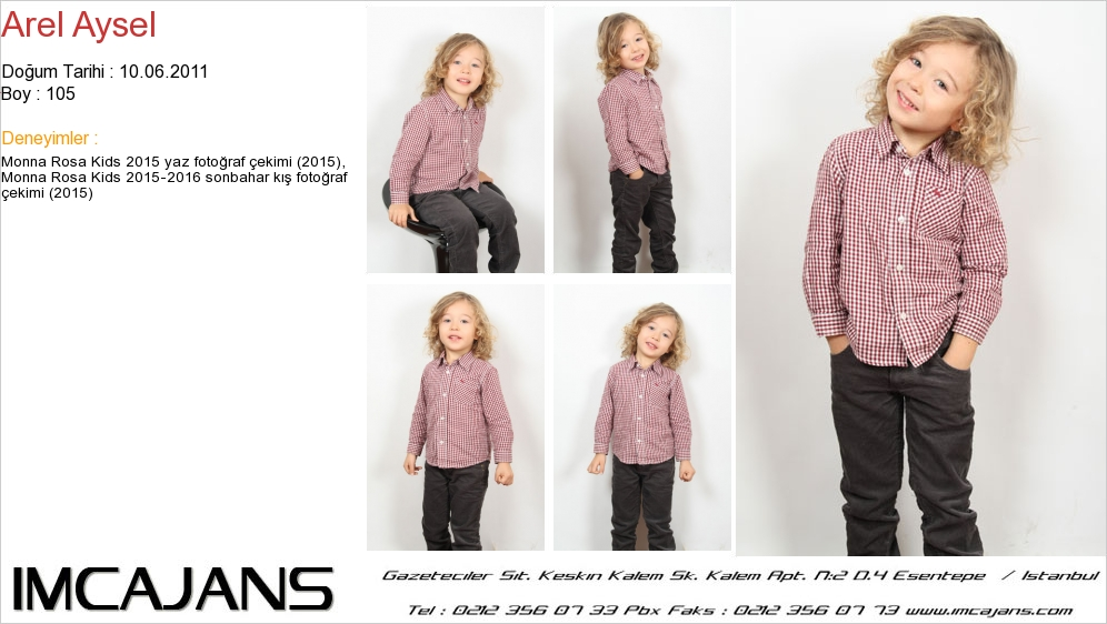 Monna Rosa Kids 2015-2016 sonbahar kýþ fotoðraf çekiminde fotomodelimiz Arel Aysel yer aldý. - IMC AJANS