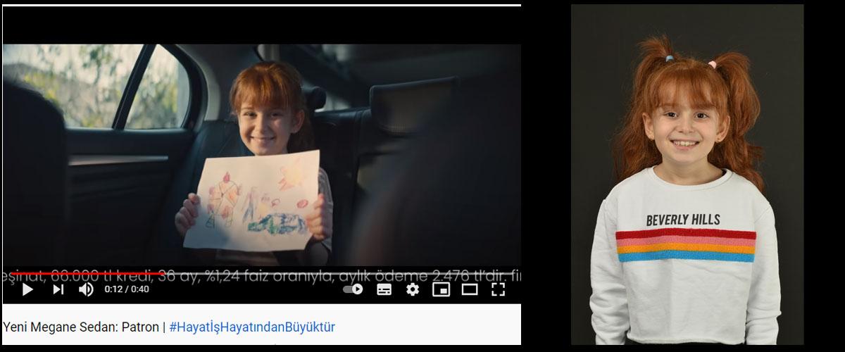 Yeni Renault Megane Sedan reklamýnda baþarýlý oyuncumuz Ela Saral yer aldý - IMC AJANS